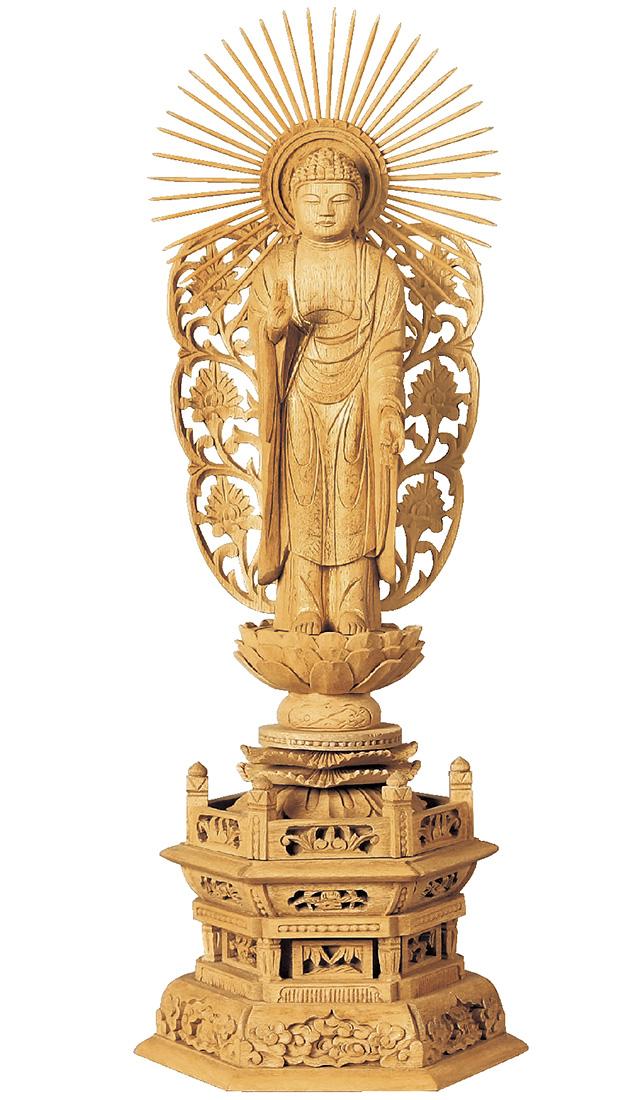 仏像『楠木地彫 六角台座 舟立弥陀 金泥書 4.5寸』[浄土宗][時宗]