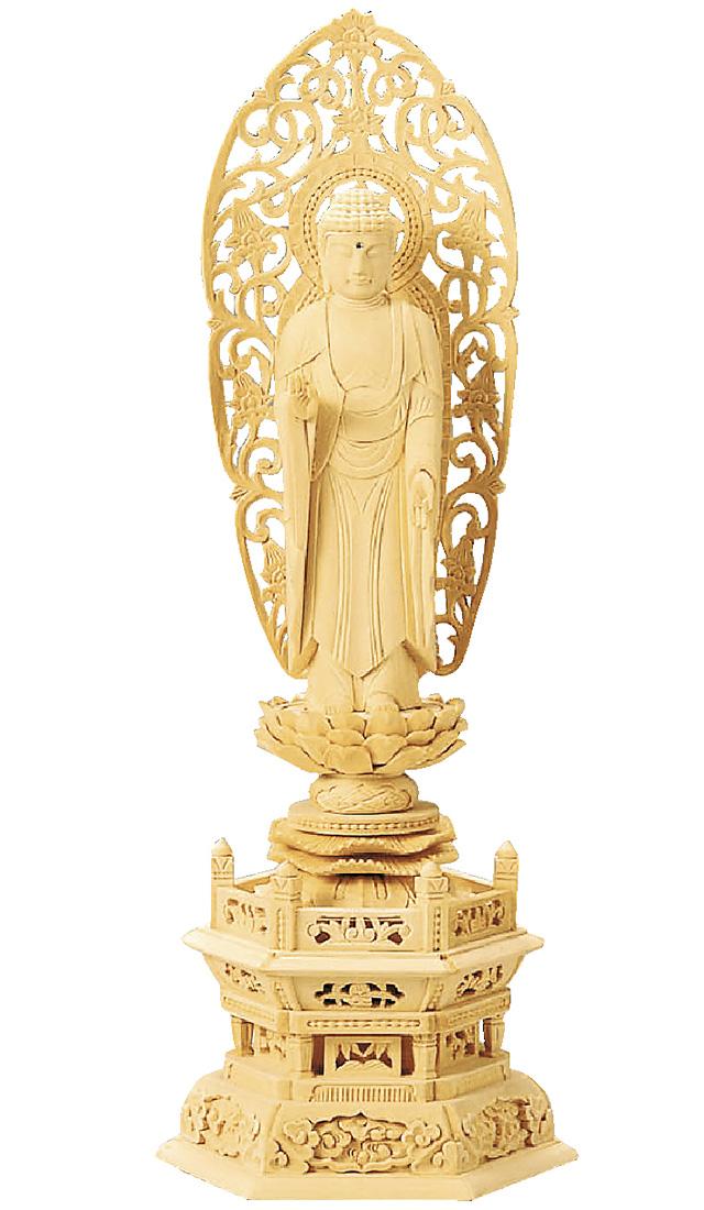 【全品ポイント10倍】仏像『総白木 六角台座 舟立弥陀 金泥書 3.5寸』[浄土宗][時宗]