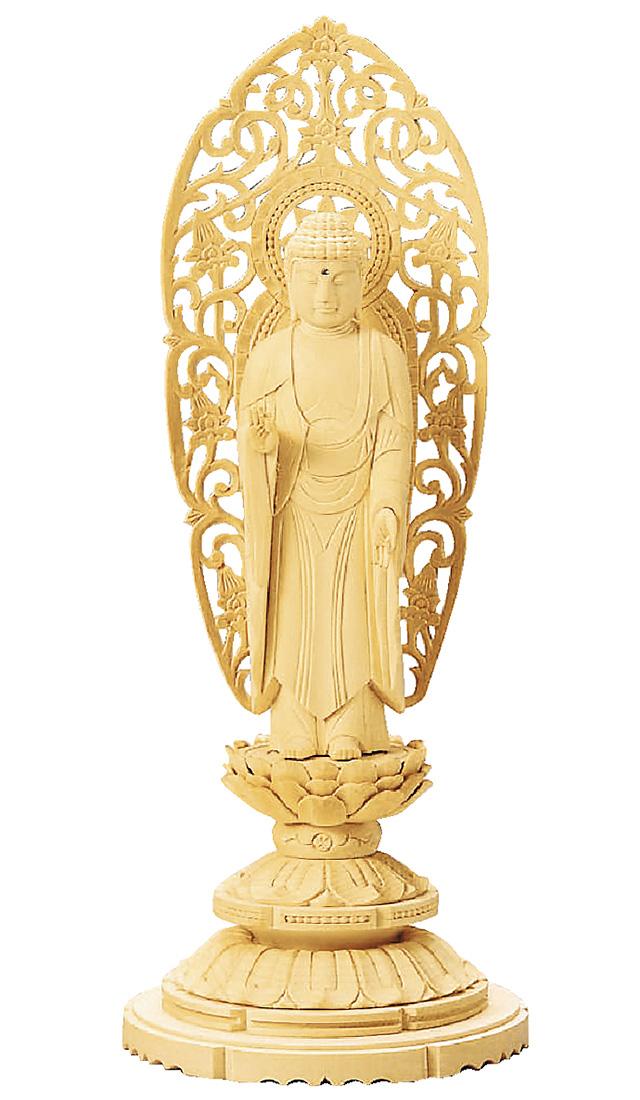 仏像『総白木 丸台座 舟立弥陀 金泥書 4.5寸』[浄土宗][時宗]