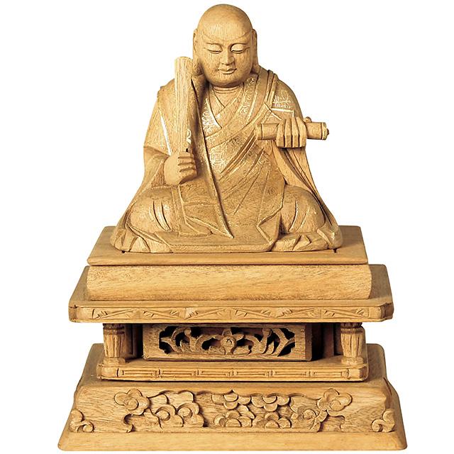 【全品ポイント10倍】仏像『楠木地彫 日蓮 金泥書 2.0寸』[日蓮宗]