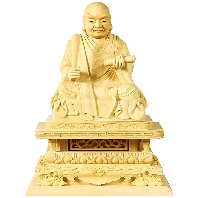 仏像『柘植 日蓮 玉眼入 【極上彫】 2.5寸』[日蓮宗]