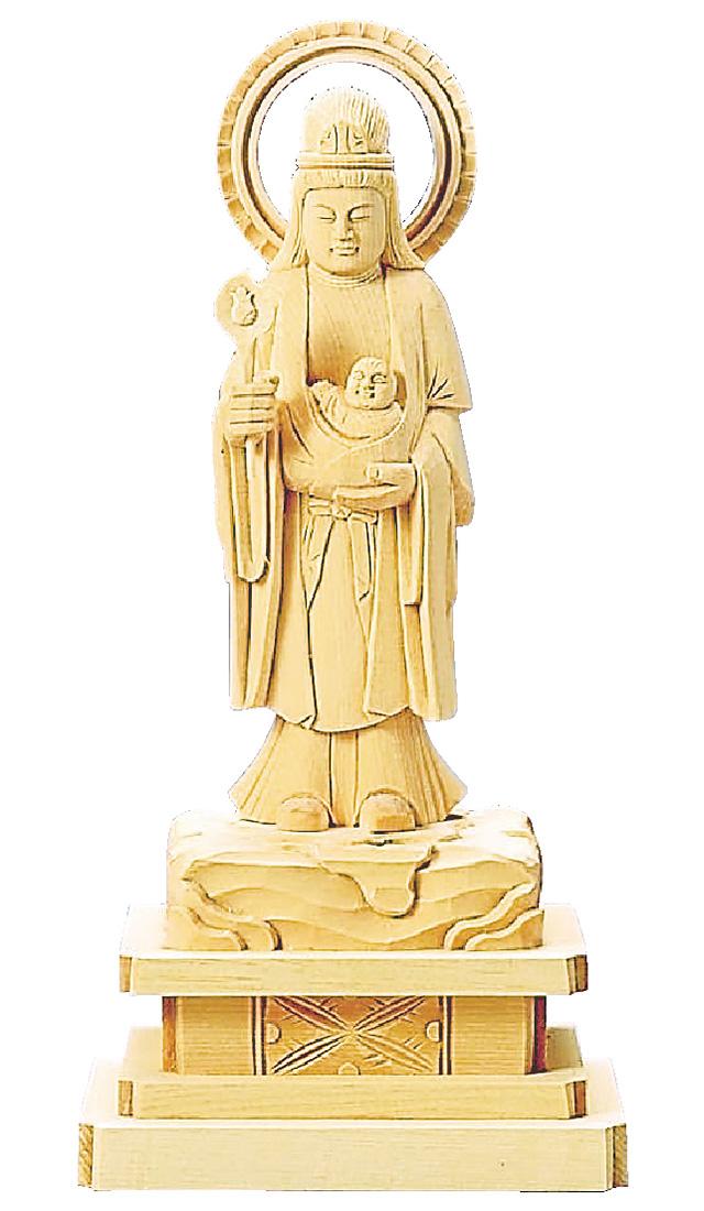 【全品ポイント10倍】仏像『総白木 子安鬼子母神 4.5寸』