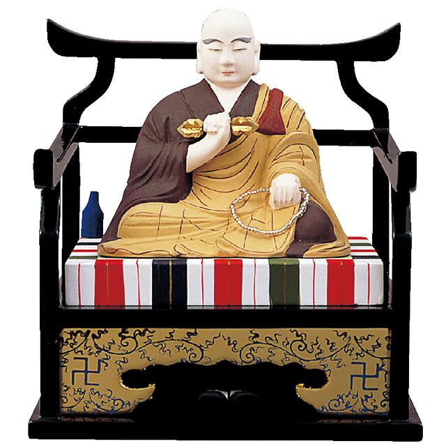 仏像『木製彩色 弘法大師 3.0寸』[真言宗][弘法大師空海]