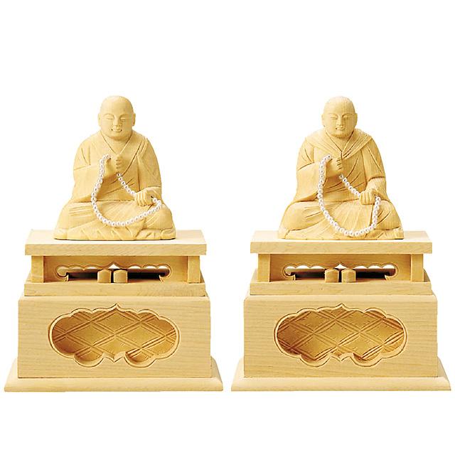 【全品ポイント10倍】仏像『総白木 蓮如・親鷲 2.5寸』[浄土真宗本願寺派][お西さん]