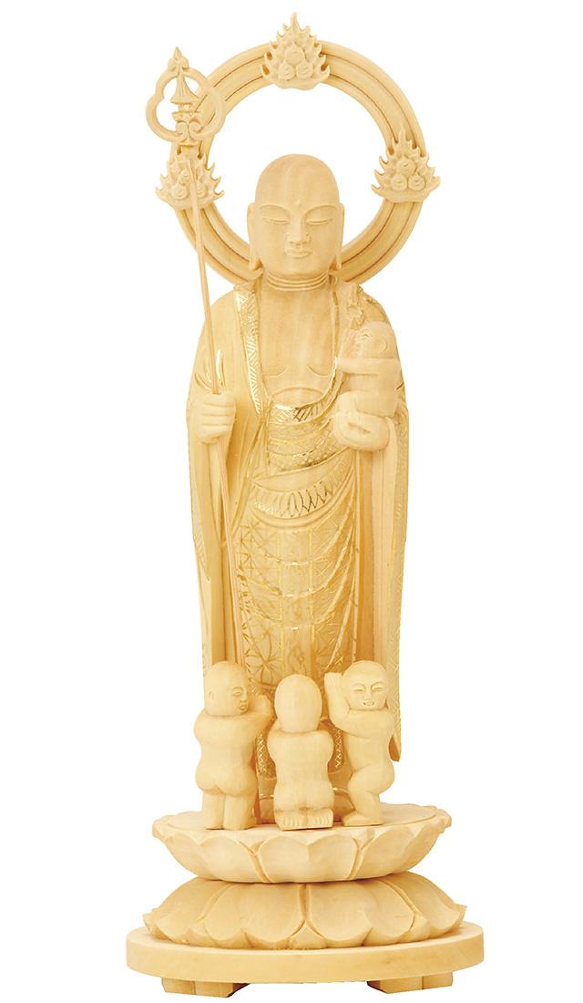 送料無料 買い物 厳選された素材を使用した本格志向の仏像です 仏像 総柘植 気質アップ 水子地蔵 3.5寸 丸台座 輪光背