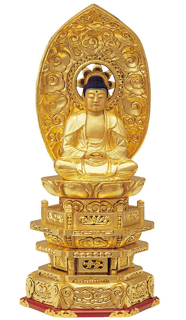 木製 純金箔押 並京型 座釈迦 肌金粉仕上げ 2.0寸[仏像][曹洞宗][臨済宗][天台宗]