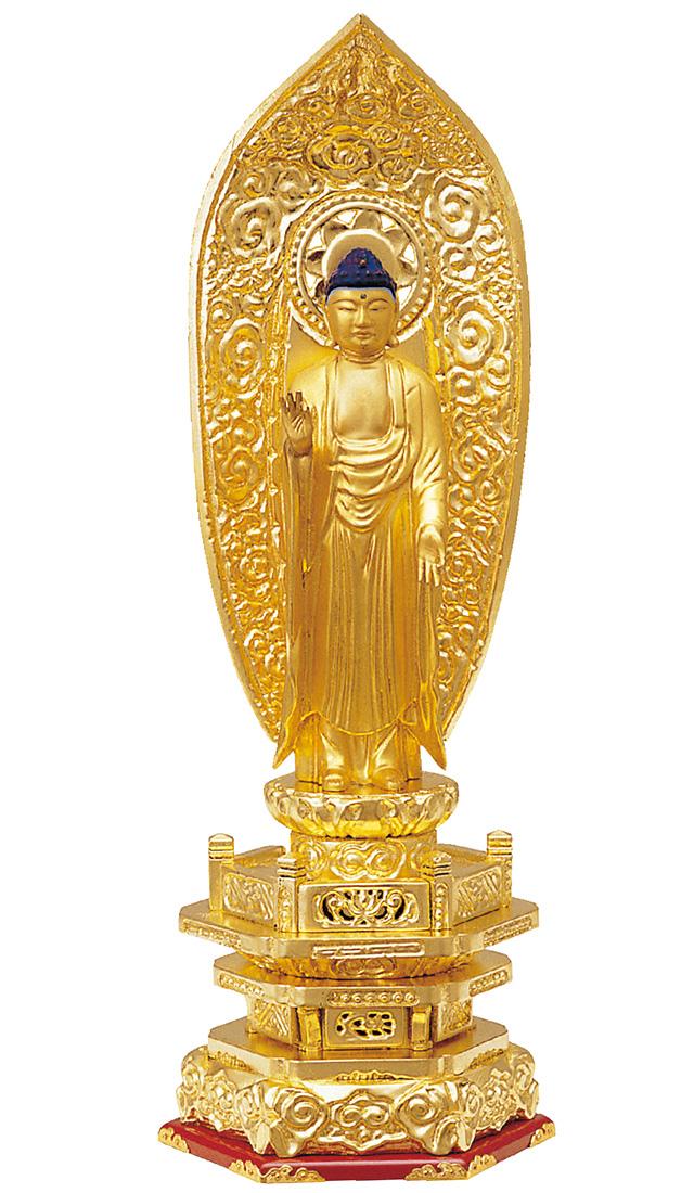 木製 純金箔押 並京型 舟立弥陀 肌金粉仕上げ 3.5寸[仏像][浄土宗][時宗]