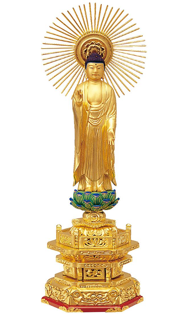 木製 純金箔押 並京型 東立弥陀 肌金粉仕上げ 3.5寸[仏像][浄土真宗大谷派][お東さん]