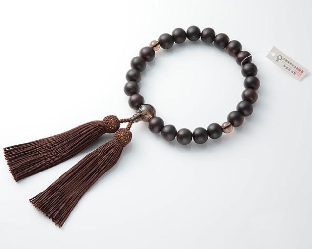 【全品ポイント10倍】男性用 略式数珠(片手念珠) 素挽黒檀 22珠茶水晶仕立正絹頭