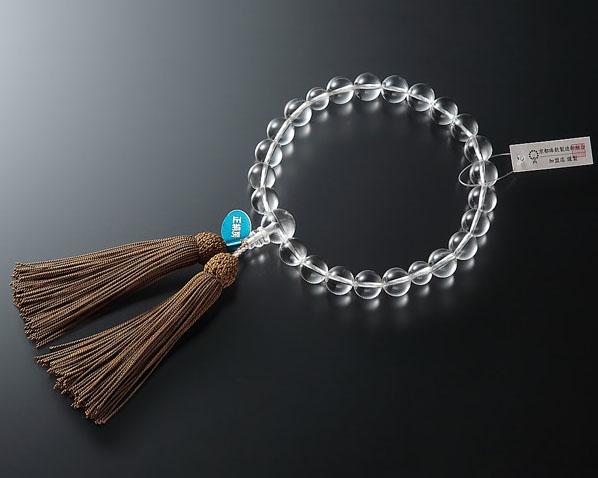 【全品ポイント10倍】男性用 略式数珠(片手念珠) 本水晶 22珠共仕立正絹頭【送料無料】