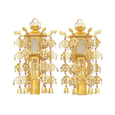 高品質の幢幡が送料無料 在家用 アルミ 照明幢幡 1対 好評受付中 開店祝い 金色 5.0寸 小