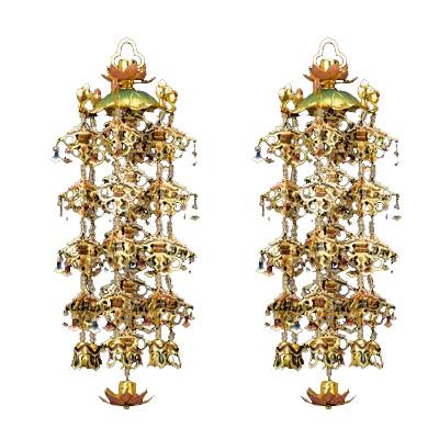 【全品ポイント10倍】真鍮蓮傘 珱珞 (1対) 淡彩色 本金メッキ 白玉 大/5号