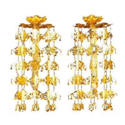 【全品ポイント10倍】アルミ 輪灯珱珞 (1対) 1重5段 平竿 金色付 3.0寸