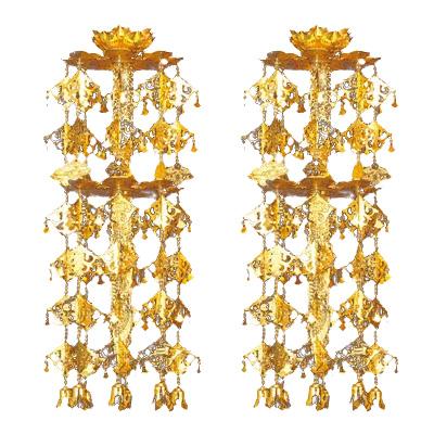 【全品ポイント10倍】真鍮 輪灯珱珞 (1対) (1対) 2重6段 4.0寸 丸竿 消金 丸竿 4.0寸, シンチマチ:871e8d04 --- finact.net.au