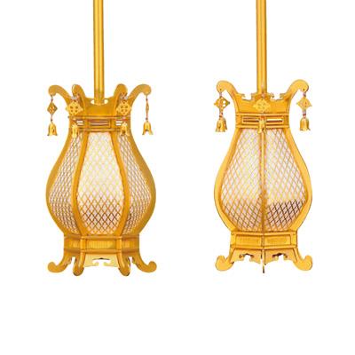 真鍮 利久型 灯籠 珱珞付 消金 中