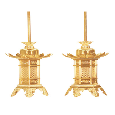 灯籠『真鍮組胴 本金 丁足 1.8寸』お仏壇を美しく飾る灯籠です。[灯篭 燈籠 浄土真宗大谷派 東 送料無料]