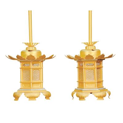灯籠『真鍮組胴 消金 猫足 2.8寸』お仏壇を美しく飾る灯籠です。[灯篭 燈籠 浄土真宗本願寺派 西 送料無料]