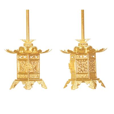 灯籠『真鍮 神前灯籠 消金 丁足 3.0寸』お仏壇を美しく飾る灯籠です。[灯篭 燈籠 浄土真宗大谷派 東 送料無料]