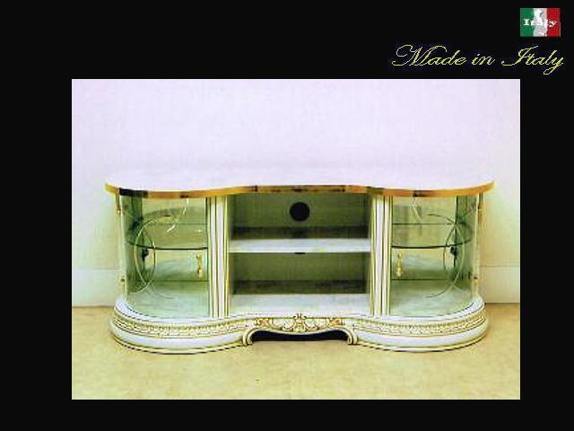 TVボード138 テレビ台(TV台)【イタリア製家具】ホワイト&ゴールド /家具 収納 10P27May16