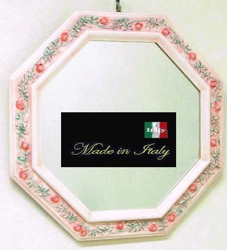【 イタリア製 】アンティーク 風水八角ミラー デコレーションウォールミラー ピンク W45 10P27May16