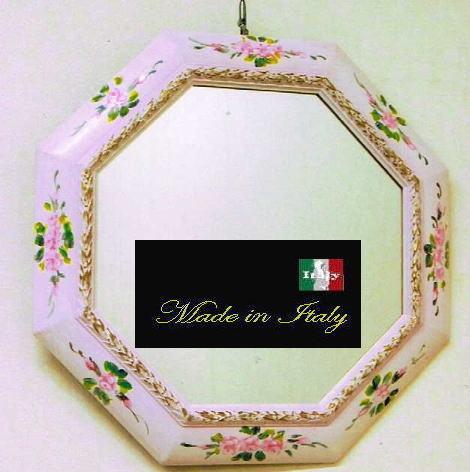 【 イタリア製 】アンティーク 風水八角ミラー ペイントウォールミラー ピンク W47 10P27May16
