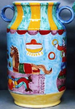傘立 花瓶【イタリア製 ラムーザ】アンブレラスタンド 陶器かさ立て フラワーアレンジ(玉乗りと馬) 10P27May16