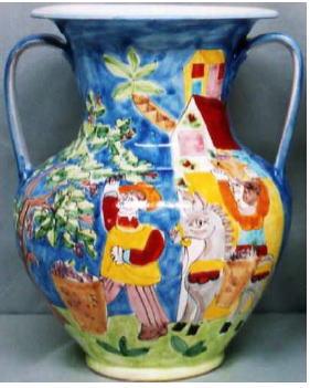 傘立 花瓶【イタリア製 ラムーザ】アンブレラスタンド 陶器かさ立て フラワーアレンジ(果実園と馬) 10P27May16