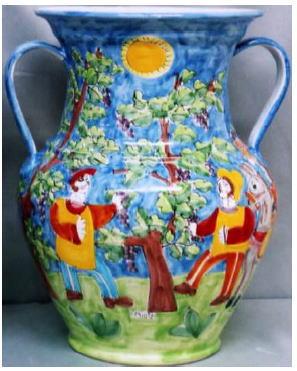 傘立 花瓶【イタリア製 ラムーザ】アンブレラスタンド 陶器かさ立て フラワーアレンジ(太陽と果実園と馬) 10P27May16