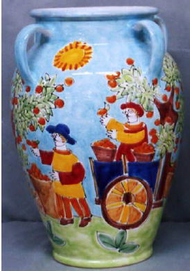 傘立 花瓶【イタリア製 ラムーザ】アンブレラスタンド 陶器かさ立て フラワーアレンジ(働く人々) 10P27May16