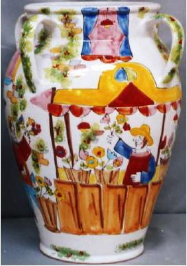 傘立 花瓶【イタリア製 ラムーザ】アンブレラスタンド 陶器かさ立て フラワーアレンジ(陽気な人たちとお花) 10P27May16