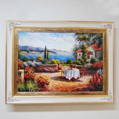 額縁 絵画 イタリア製 アートフレーム 額絵(コモ湖)124*94 10kg