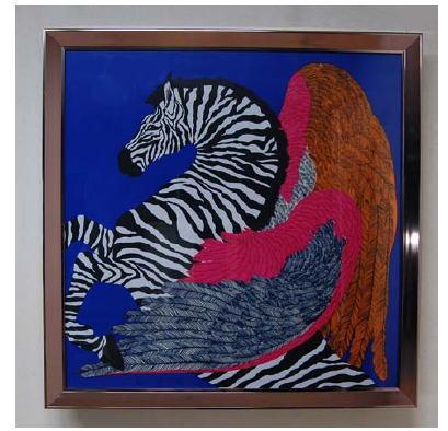 額縁 絵画 アートフレーム 額絵(馬に乗る人)106.5*106.6 11kg