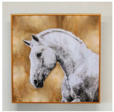 額縁 絵画 アートフレーム 額絵(馬)80*80 3kg