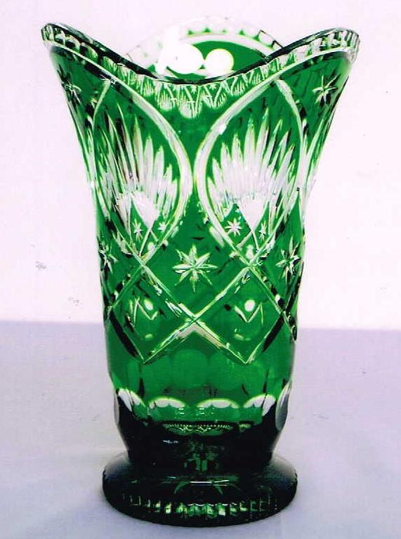 チェコ製 花瓶 グリーン 10P27May16