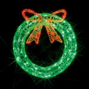 クリスマスイルミネーション LEDクリスタルモチーフ屋外用 リボンリース 10P27May16