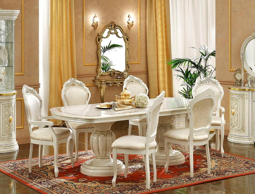 【伸長時232cm!】【イタリア製家具】伸長式ダイニングテーブル ホワイト&ゴールド /家具 収納 10P27May16