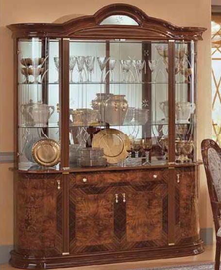 【お洒落なアンティーク家具が安い店】【イタリア製家具】 4ドアカップボード コレクションボード 食器棚/家具 収納 (ウォールナット) 10P27May16