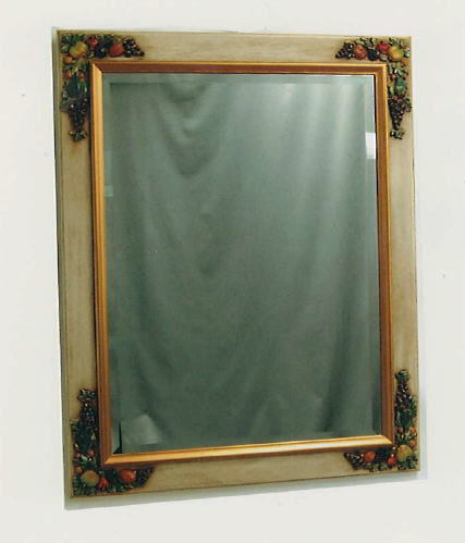 【 イタリア製 】アンティーク フルーツデコウォールミラー 76×97 壁掛け鏡 10P27May16