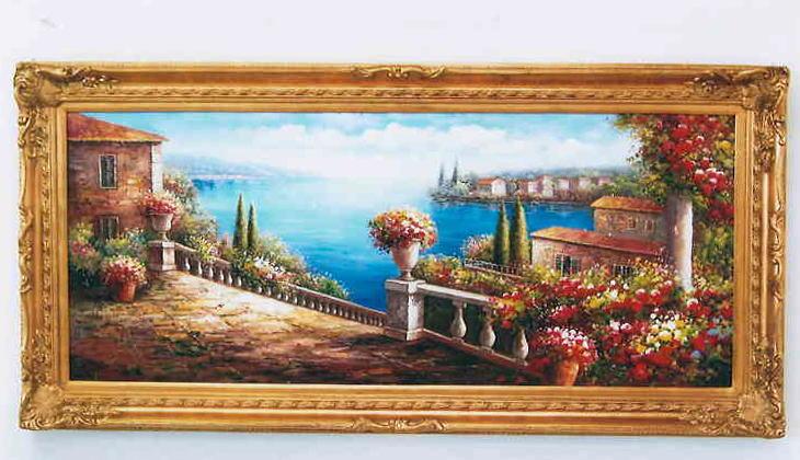 【代引不可】額絵 アートフレーム 油絵/絵画/花/アンティーク ゴールド 195×93 12kg 10P27May16