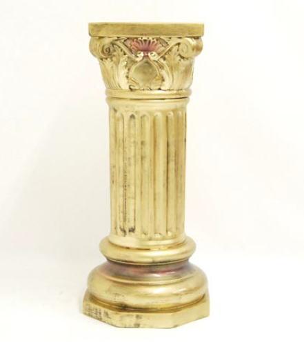 イタリア製 アンティークな彫刻のコラム(置台)花台 キャメル レオナルド 10P27May16