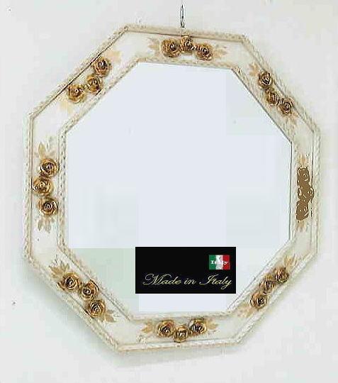 【 イタリア製 】アンティーク 風水八角ミラー デコレーションウォールミラー ホワイト W74 10P27May16