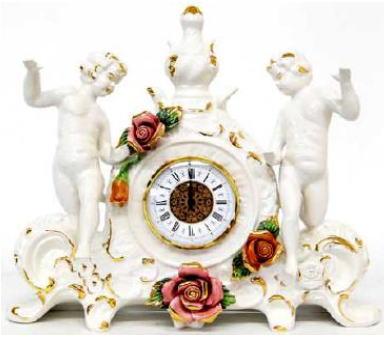 【イタリア製】ロココ調 エンジェルとローズの置時計 陶器 10P27May16