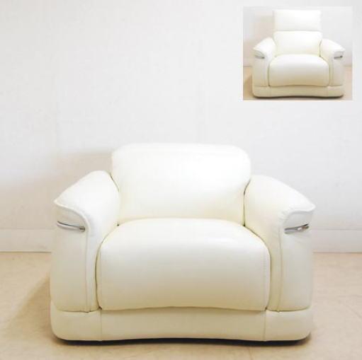 イタリア製 本革ソファー(ベージュ)アームソファー レザー一人掛け イス 椅子 10P27May16