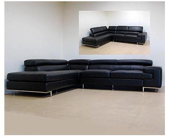 イタリア製 本革ソファー(ブラック)コーナーリビングソファー レザー イス 椅子 10P27May16