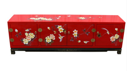 中国伝統工芸家具【受注発注商品】高級家具 4ドア整理棚(赤)テレビ台