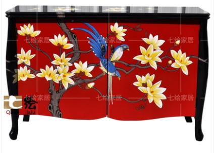 中国伝統工芸家具【受注発注商品】高級家具 チェスト( 赤)サイドボード