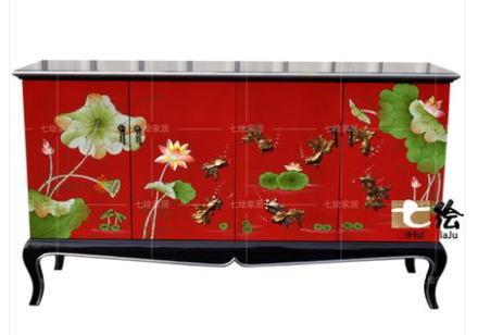 中国伝統工芸家具【受注発注商品】高級家具 猫脚サイドボード 4枚扉(赤)