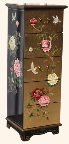 中国伝統工芸家具【受注発注商品】5段チェスト(黒金箔花鳥)