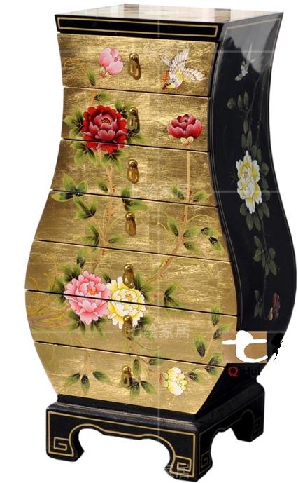 中国伝統工芸家具【受注発注商品】7段チェスト(黒金箔花鳥)