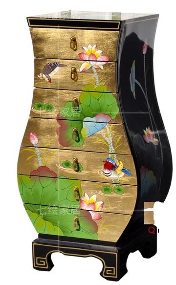 中国伝統工芸家具【受注発注商品】7段チェスト(緑蓮鳥)